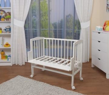 WALDIN Baby Beistellbett mit Matratze und Nestchen, 2 Modelle wählbar,weiß lackiert - 2