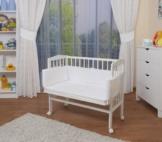 WALDIN Baby Beistellbett mit Matratze und Nestchen, 2 Modelle wählbar,weiß lackiert - 1