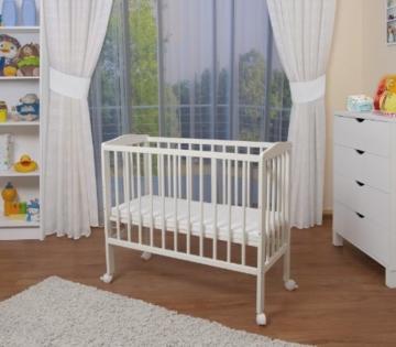 WALDIN Baby Beistellbett mit Matratze und Nestchen, 2 Modelle wählbar,weiß lackiert - 4