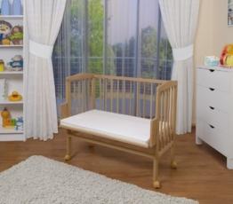 WALDIN Baby Beistellbett mit Matratze, 2 Modelle wählbar,natur unbehandelt -
