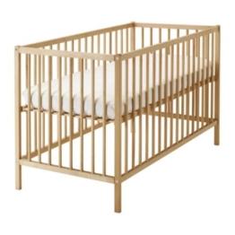 IKEA verstellbares Babybett SNIGLAR Bettchen in 60x120cm Gitterbett aus massiver Buche höhenverstellbar - 1